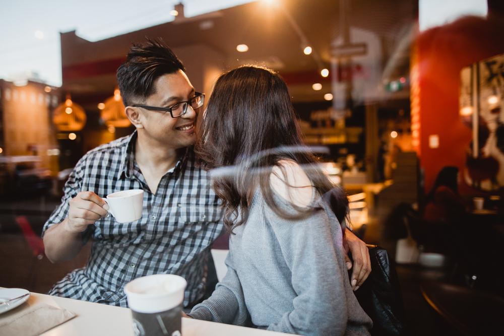 Ottawa cafe engagement shoot