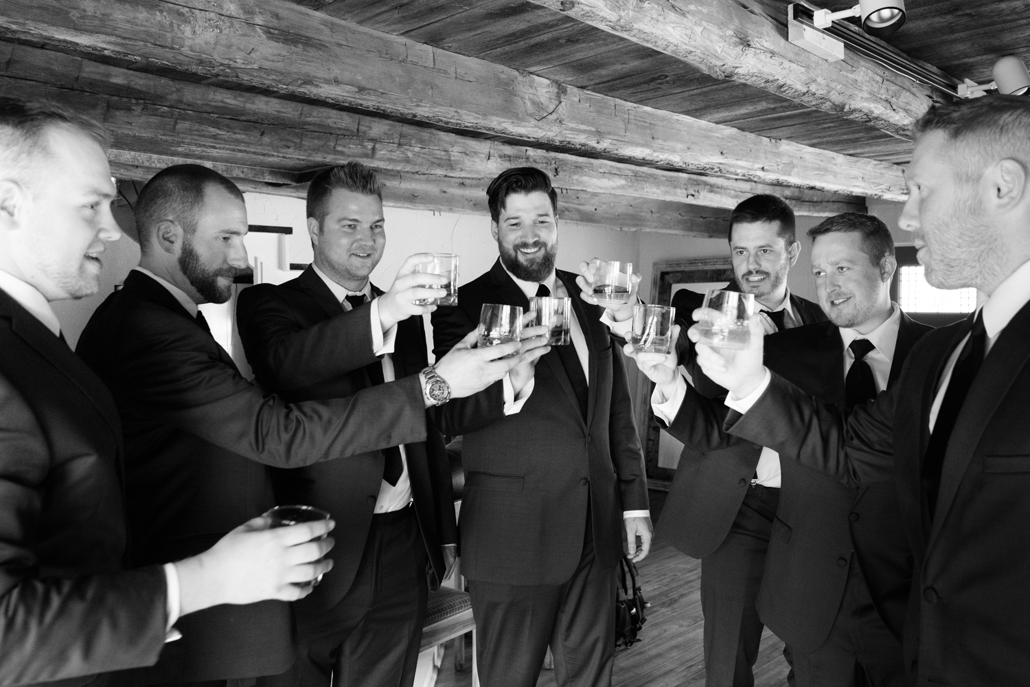 groomsmen cheers after getting ready