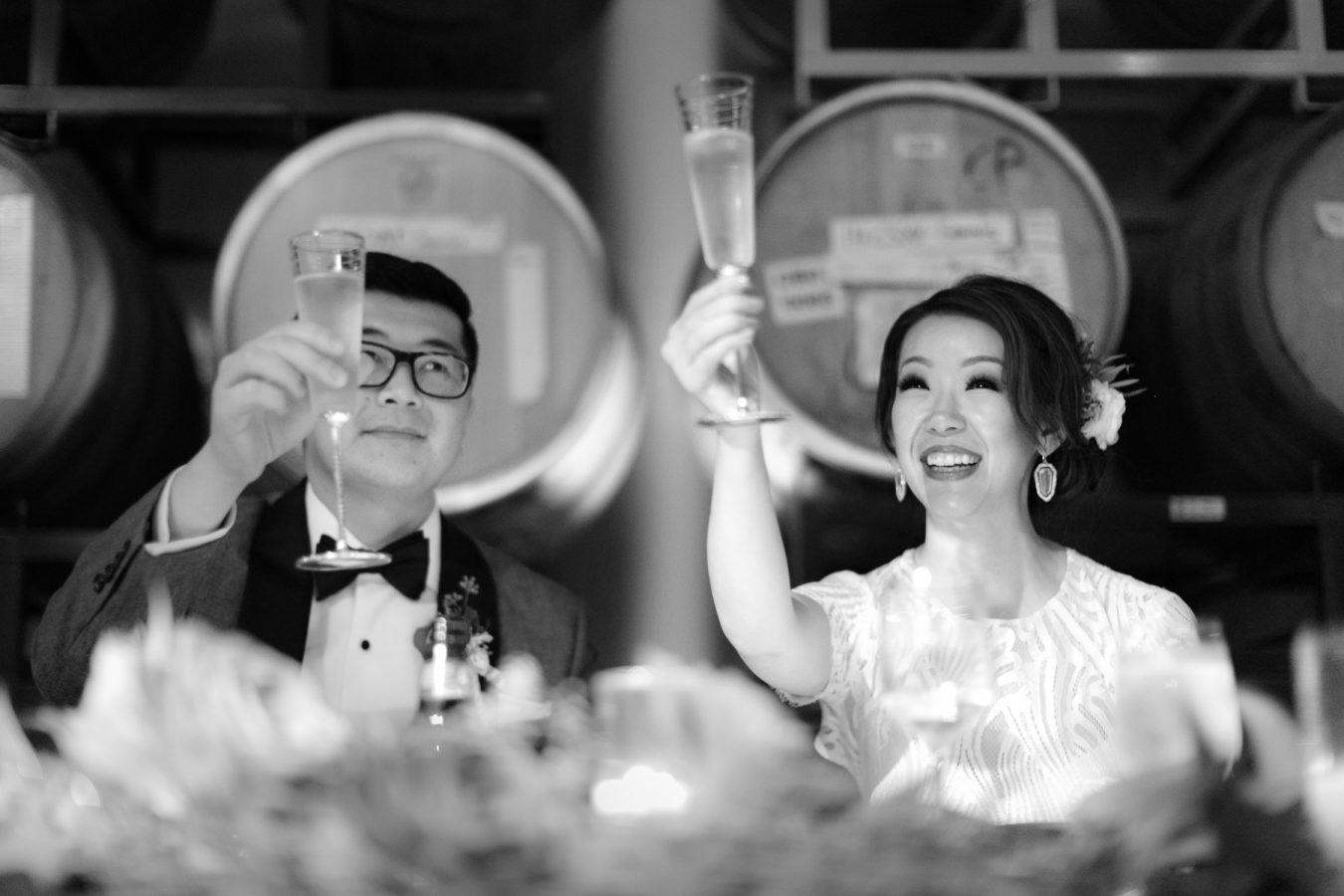 champagne toast bride groom