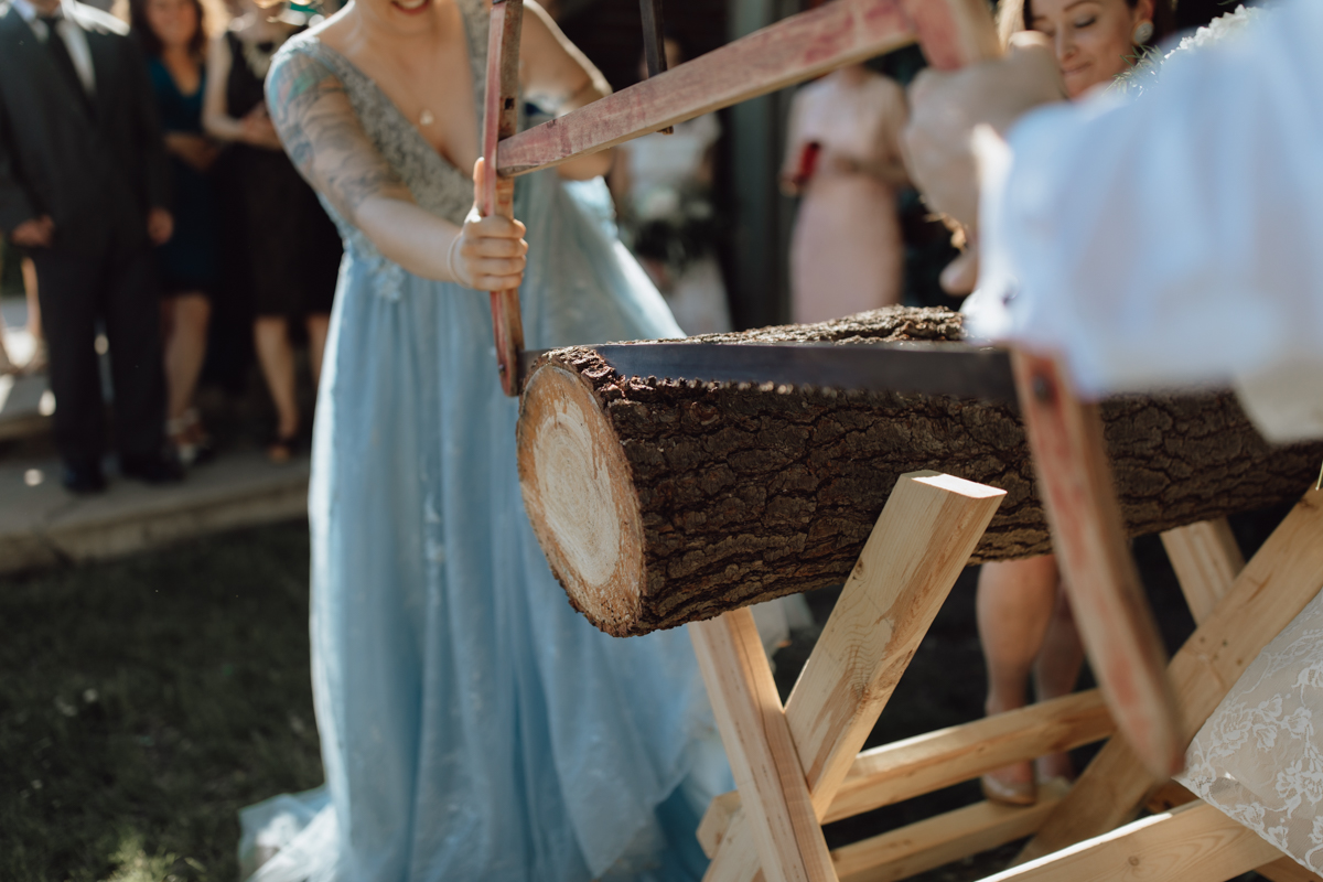 German wood cutting ceremony wedding