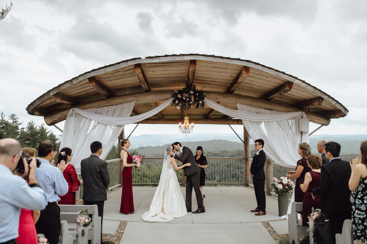 rainy Le Belvedere wedding ceremony